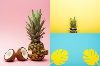 Collage of tropical fruits, sunglasses and paper palm leaves on pink, blue and yellow background stock vector