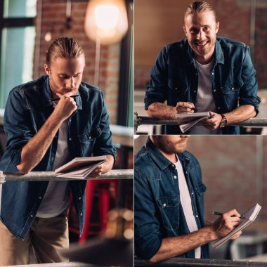 collage of pensive businessman holding pen and writing in notebook