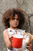 Selektiver Fokus mittelloser afrikanisch-amerikanischer Kinder mit schmutzigem Teddybär, der Almosen auf urbanen Straßen erbettelt