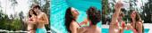 Collage von Mann und Frau in Badebekleidung, die Cocktails halten und ein Selfie in der Nähe des Swimmingpools machen