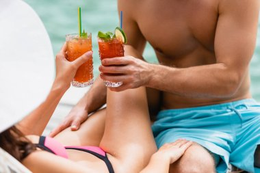 Cropped view of couple in swimwear clinking glasses with cocktails stock vector