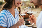 cropped view of cheerful couple clinking glasses with red wine