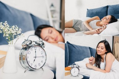 Collage of alarm clock on bedside table and smiling asian woman on bed stock vector