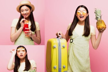 Collage of happy asian girl holding baggage, fresh pineapple, cocktail and looking up on pink stock vector
