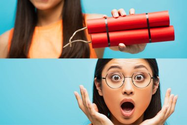 Collage of shocked asian girl in glasses looking at camera, gesturing and holding dynamite sticks isolated on blue stock vector