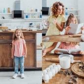 kollázs lány áll közel konyhaasztal, olvasás szakácskönyv közelében anya gazdaság üveg tál, és összetevők cookie vágó