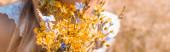 oříznutý pohled na ženu držící kytici divokých květin, záhlaví stránky