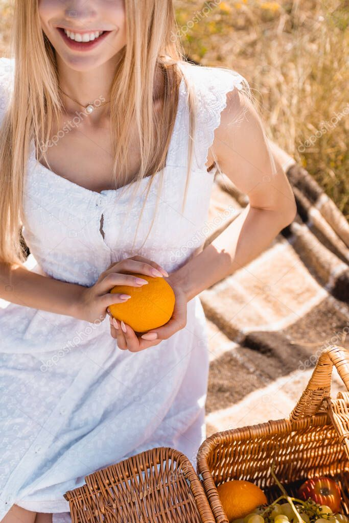 Cropped view of woman in white dress holding orange while sitting on blanket near wicker basket stock vector