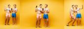kollázs két félmeztelen barátok bemutató okostelefonok, gesztikuláló és a kamera sárga, vízszintes kép