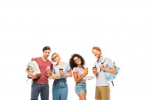 Multiethnic students with coffee to go, books and smartphone isolated on white
