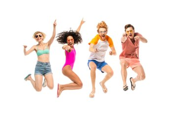 Excited multiethnic friends in sunglasses and flip flops jumping isolated on white stock vector