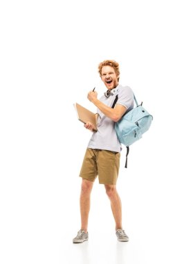 Student with backpack and notebook showing yeah gesture on white background stock vector