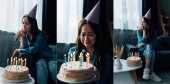collage of sad woman blowing party horn, sitting on sofa and crying near birthday cake