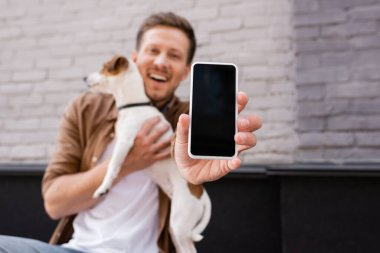Selective focus of man showing smartphone and holding jack russell terrier on urban street