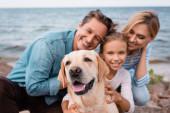 Selective focus of golden retriever sitting near family on beach
