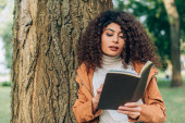 Selektivní zaměření kudrnaté ženy držící zápisník u stromu v parku