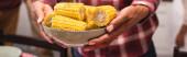Panoramatická plodina africké americké ženy držící misku kukuřice doma