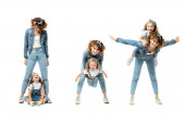 collage of mother and daughter in denim outfits spending time isolated on white
