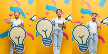 Collage of pensive and worried schoolgirl holding decorative light bulb near paper art on yellow background stock vector