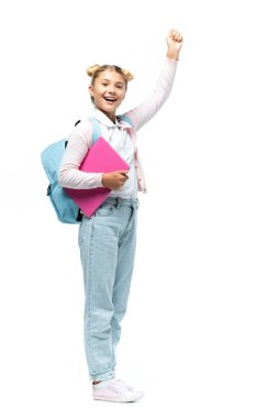 Schoolgirl with laptop and backpack showing yeah gesture on white background stock vector