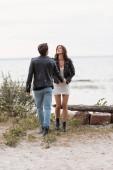 Bruneta žena v šatech a kožené bundy drží ruku přítele na pobřeží