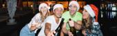 Panoráma felvétel izgatott barátok kezében üveg pezsgő a szabadban éjszaka