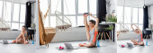 Photo Collage of young sportswoman exercising on fitness mat near laptop and dumbbells at home