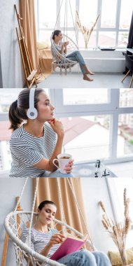 Collage of young woman holding cup, listening music in headphones and reading book in hanging armchair