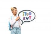 Iskolagyerek hátizsák gazdaság beszéd buborék diák betűkkel elszigetelt fehér