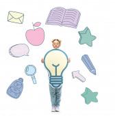 volle Länge Ansicht von Schulkind in Brille hält Papier geschnitten Glühbirne in der Nähe Illustration auf weiß