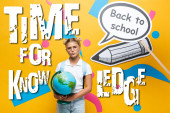 Thoughtful schoolkid with globe standing beside paper art with back to school lettering near illustration on yellow background