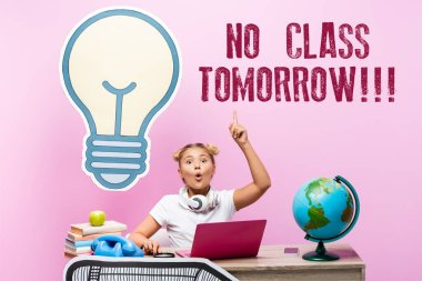 Excited schoolkid having idea near gadgets, paper artwork and no class tomorrow lettering on pink background stock vector