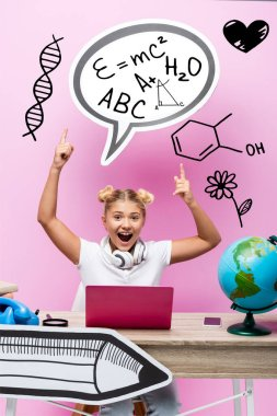 Excited kid pointing with fingers at speech bubble with illustration near laptop, smartphone and globe on pink stock vector