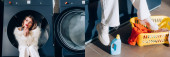 Collage einer verträumten Frau in weißer Kunstpelzjacke, die in der öffentlichen Waschmaschine neben Korb mit Kleidung sitzt