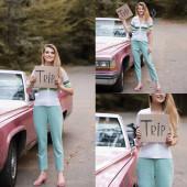 Koláž usměvavé ženy držící kartu s nápisem výlet v blízkosti auto na silnici