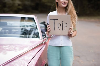 partial view of young woman holding placard with trip lettering near vintage cabriolet on blurred background