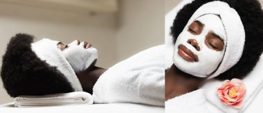 Collage of african american woman with white headband and face mask lying on massage table in spa salon, banner stock vector