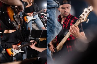 KYIV, UKRAINE - AUGUST 25, 2020: Collage of musicians playing electric guitars during rock band rehearsal stock vector