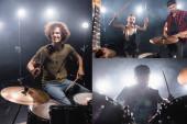 KYIV, UKRAINE - AUGUST 25, 2020: Kollázs rock zenekar dobosok és szőke nő dobverők kiabálva, miközben ül közel zenész játszik elektromos gitár