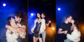 Fotografie Collage von leidenschaftlichem Freund mit Champagnerflasche, küsst und umarmt verführerische Freundin mit Rauch und Hintergrundbeleuchtung auf schwarz