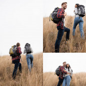 Fotografie Koláž usmívající se multietnický pár chůze s batohy na travnatém kopci