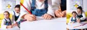 Koláž matky a dcery kresba s barevnými tužkami doma