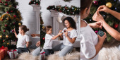 Collage of mother and daughter decorating pine near gifts and fireplace
