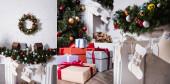 Koláž vánoční věnec nad krbem, vánoční punčochy a dárkové krabice