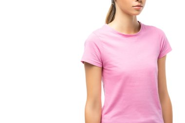 Cropped view of young woman in pink t-shirt isolated on white, concept of breast cancer stock vector