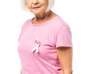 Cropped view of elderly woman with pink ribbon of breast cancer awareness on t-shirt isolated on white stock vector