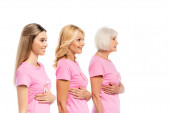 Women in pink t-shirts touching breasts isolated on white, concept of breast cancer