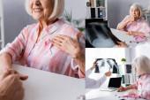 Collage einer Seniorin mit rosafarbener Schleife, die mit dem Arzt die Brust röntgt