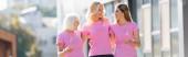 Panoramatický záběr žen s růžovými stuhami vědomí rakoviny prsu venku