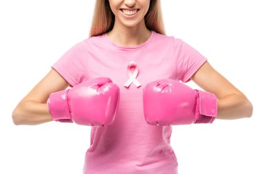 Cropped view of young woman with pink ribbon on t-shirt and boxing gloves isolated on white stock vector